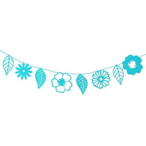 שרשרת נייר עלים מיטלי (8 עלים)-כחול