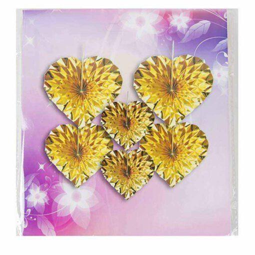 סט 6 יח' קישוט נייר מניפה לב -זהב מיטלי