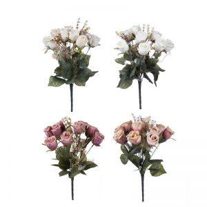 זר ורד סגור ענתיק 12X -מעורב 4 צבעים