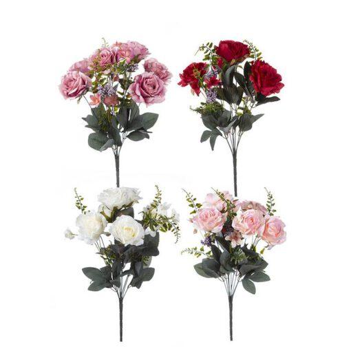זר ורד פתוח+תוספות 9X -מעורב 4 צבעים