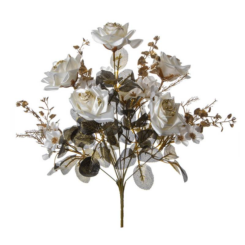 זר ורד פתוח קרם/זהב גליטר 11X
