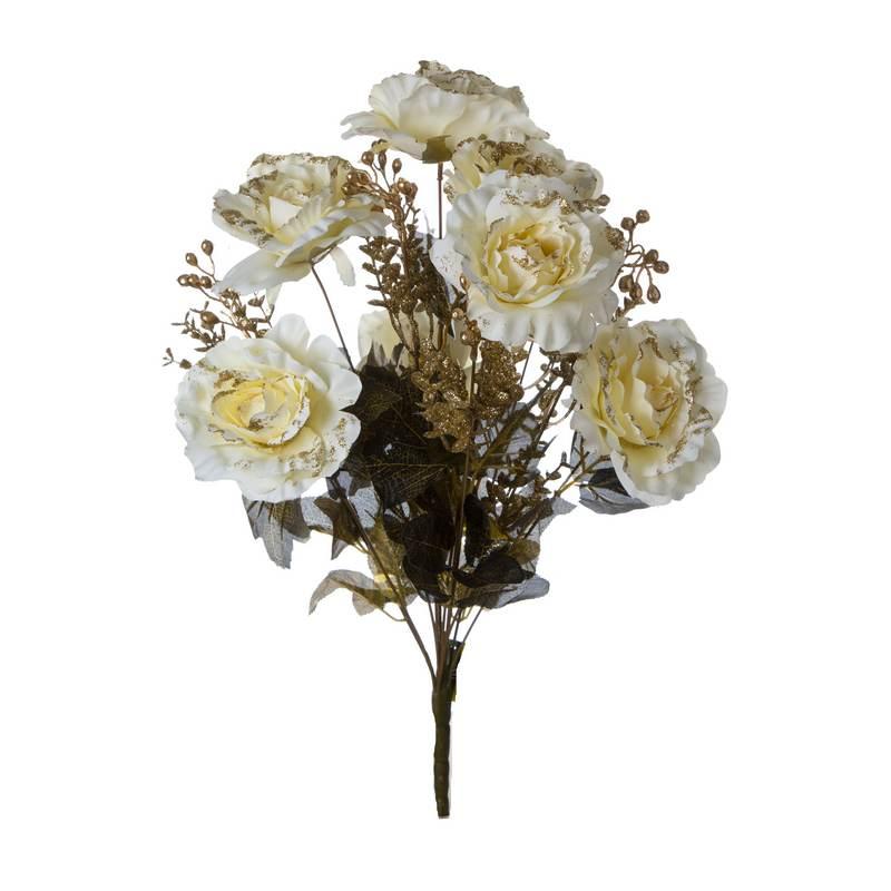 זר ורד פתוח קרם+תוספות זהב גליטר 13X