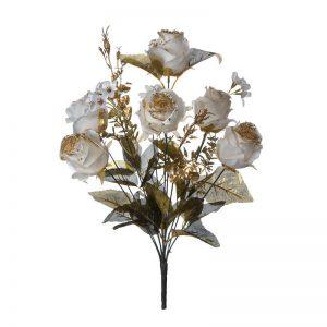 זר ורד ורד פתוח קרם/זהב גליטר 11X
