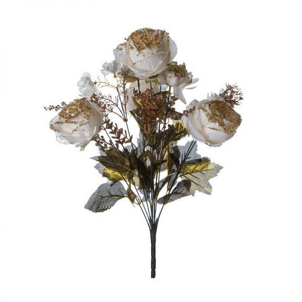 זר ורד כרוב ג'מבו קרם/זהב גליטר 11X