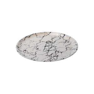 """צלחת פלסטית קוטר 28 ס""""מ - שיש לבן"""