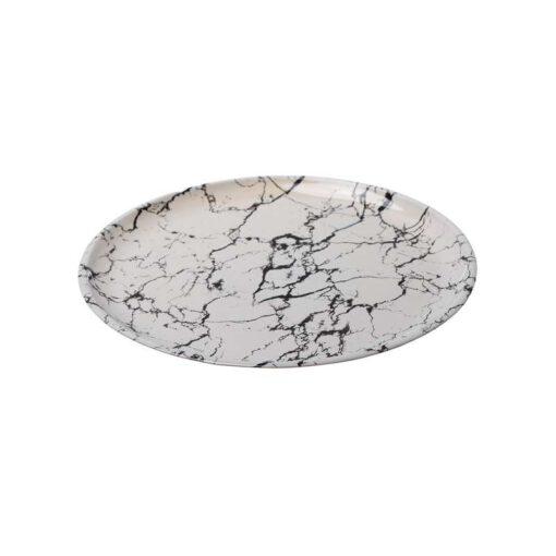 """צלחת פלסטית קוטר 32 ס""""מ - שיש לבן"""