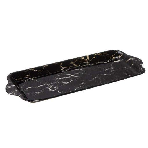 """צלחת פלסטית איגליש קייק 39.5/17 ס""""מ - שיש שחור"""
