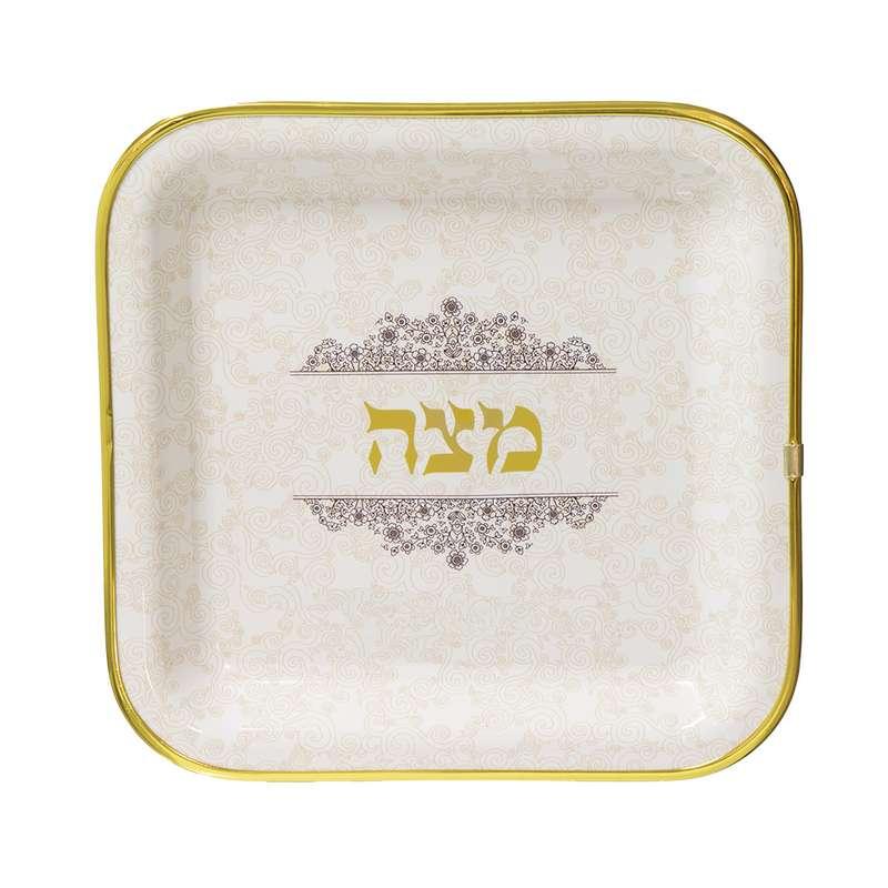 """צלחת פלסטית למצות רוחב 25 ס""""מ-פס זהב"""