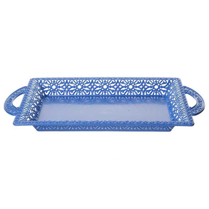 """מגש פלסטית מלבני 38/26.5/4 ס""""מ (א.כ.46 ס""""מ)-כחול כהה"""