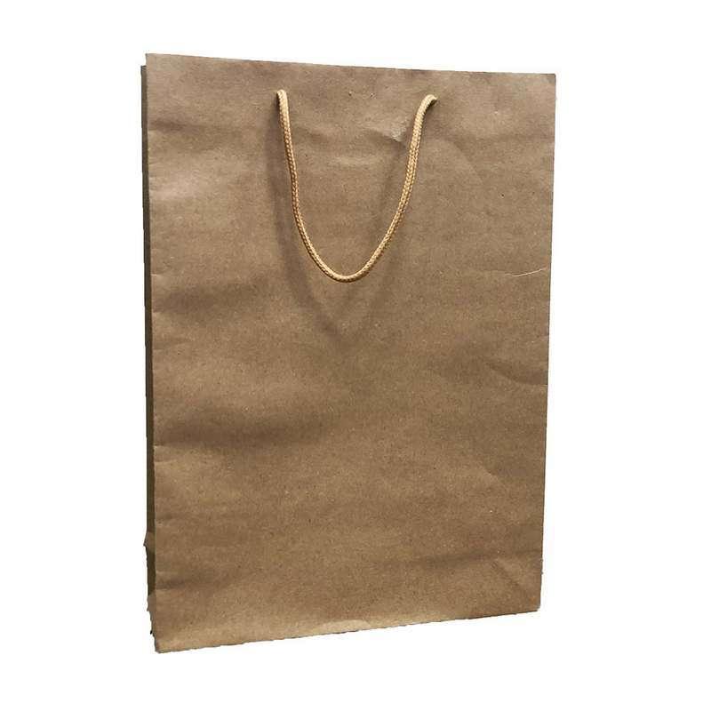 """חבילת  12 שקית נייר חום 24/33/8 ס""""מ"""