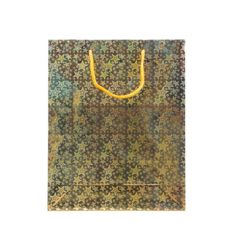 """שקית נייר ליזר 26/32/10 ס""""מ-זהב"""
