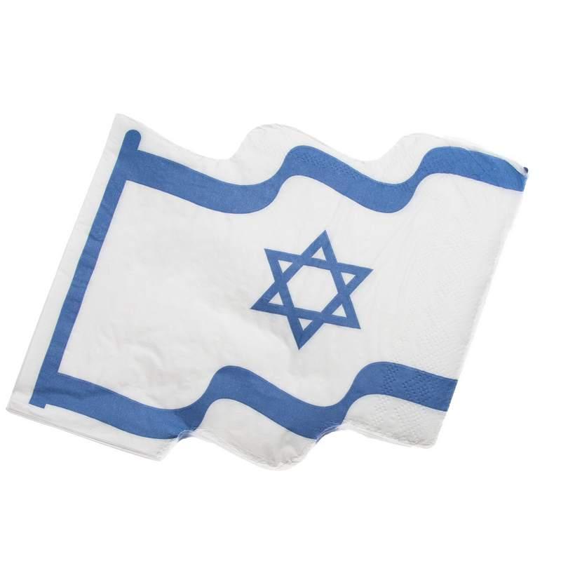 חבילת 20 מפיות נייר-צורת דגל ישראל
