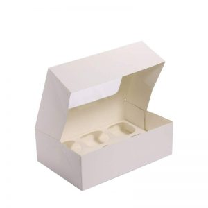 """קופסת קרטון ל6 קאפקייקס 25.5/17/8 ס""""מ-לבן"""