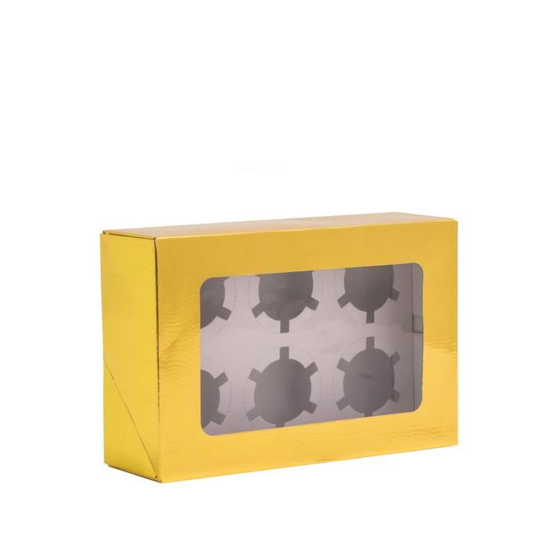 """קופסת קרטון ל6 קאפקייקס 25.5/17/8 ס""""מ-זהב"""
