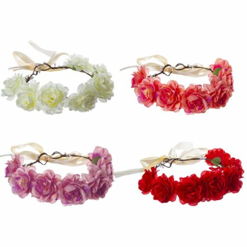 זר לראש מפואר 7 ורדים מעורב 4 צבעים