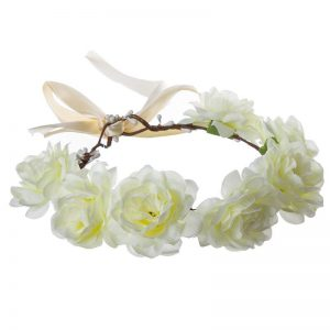 זר לראש מפואר 7 ורדים-קרם