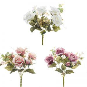 זר ורד ורד פתוח תוספות 7X מעורב 3 צבעים