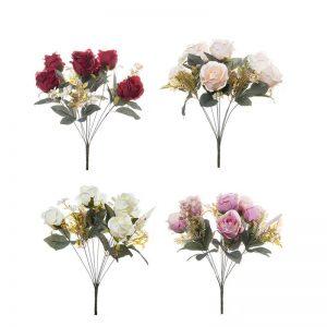 זר ורד פתוח + תוספות 9X -מעורב 4 צבעים