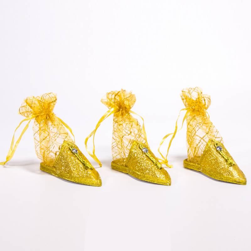 """חבילת 3 נעל מרוקו א.12 ס""""מ+שק' אורגנזה-זהב"""