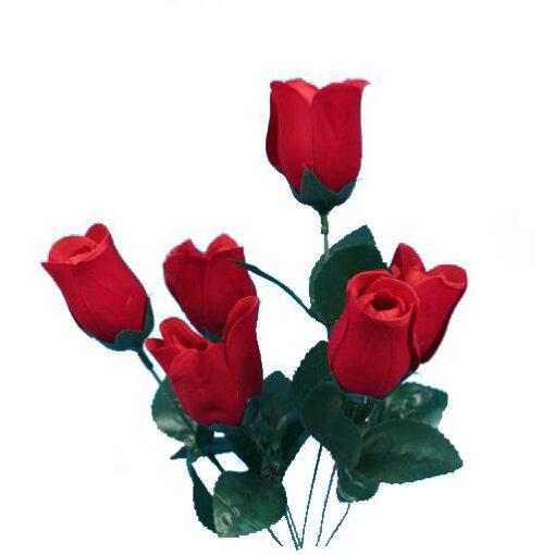 זר ורד קטיפה סגור 6X -אדום